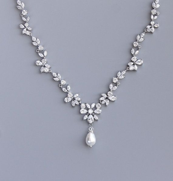 Marquise Crystal Bridal Necklace Pearl Drop Crystal by JamJewels1