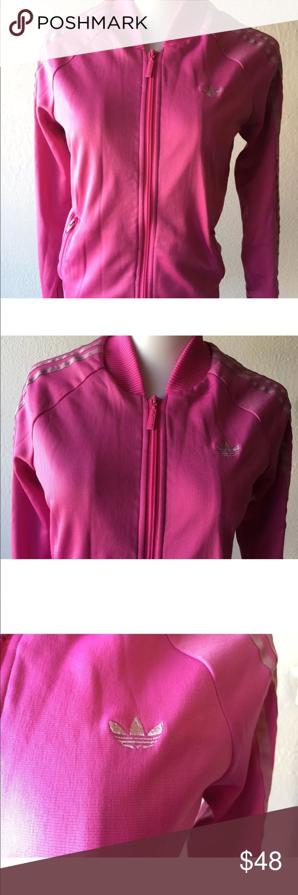 "ADIDAS Women's Supergirl Full Zip Track Jacket Brand: ""ADIDAS""  Color: Intense Pink Size: Women's Small Style: Zip up track jacket Feature 3 stripes down sleeves Condition brand new without tags  Stored and shipped from our smoke and pet free home Adidas Jackets & Coats"
