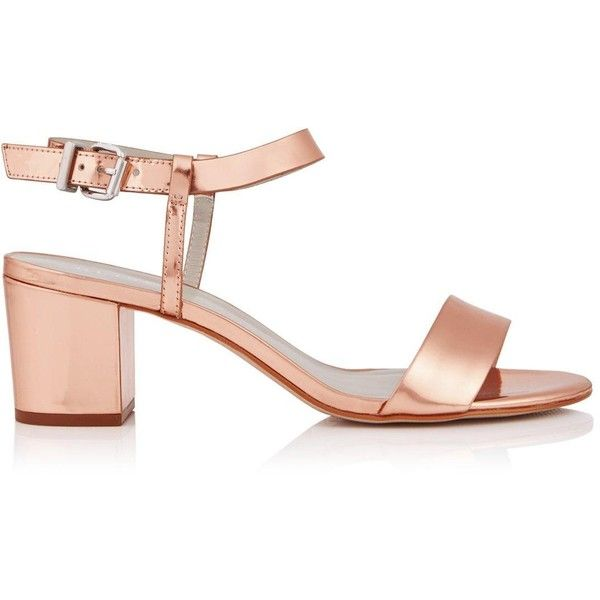 Reiss Vivi Low Heel Metallic Sandal (245 CAD) ❤ liked on Polyvore featuring shoes, sandals, rose gold, low heel sandals, rose gold shoes, reiss, metallic sandals and small heel sandals