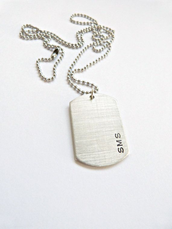 This is such a sturdy masculine necklace! This is a Solid Pewter Dog Tag that can be personalized any way you like! The perfect gift for the special guy in your life! Put a monogram, or a single large Initial on the front. Use the birth dates of his children, or even have a special anniversary date stamped in Roman Numerals! This is a very solid, and well made charm. It has a good weight to it and wears perfectly on either the leather cord or the traditional ball chain. Choose from a…