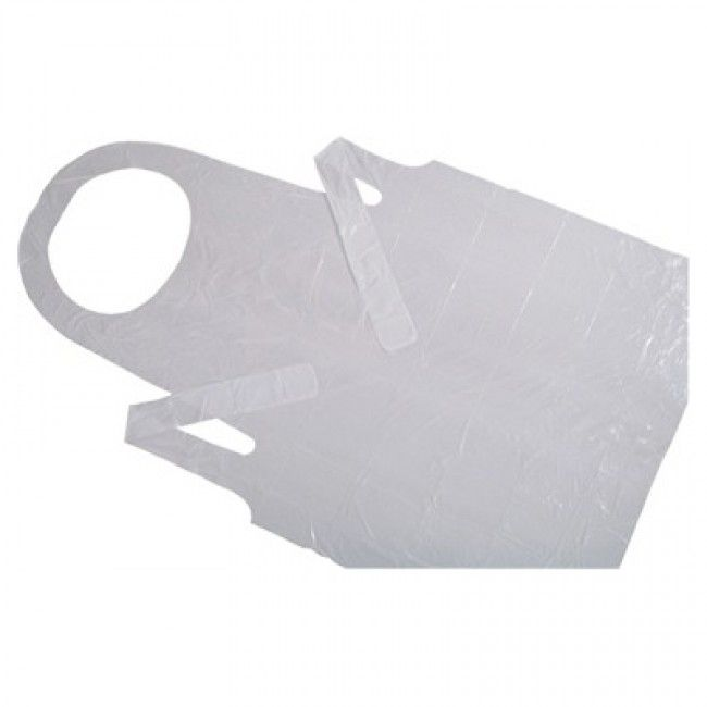 "Disposable Plastic Apron - 24"" x 42"". Cost $0.25  found on gygi.com"