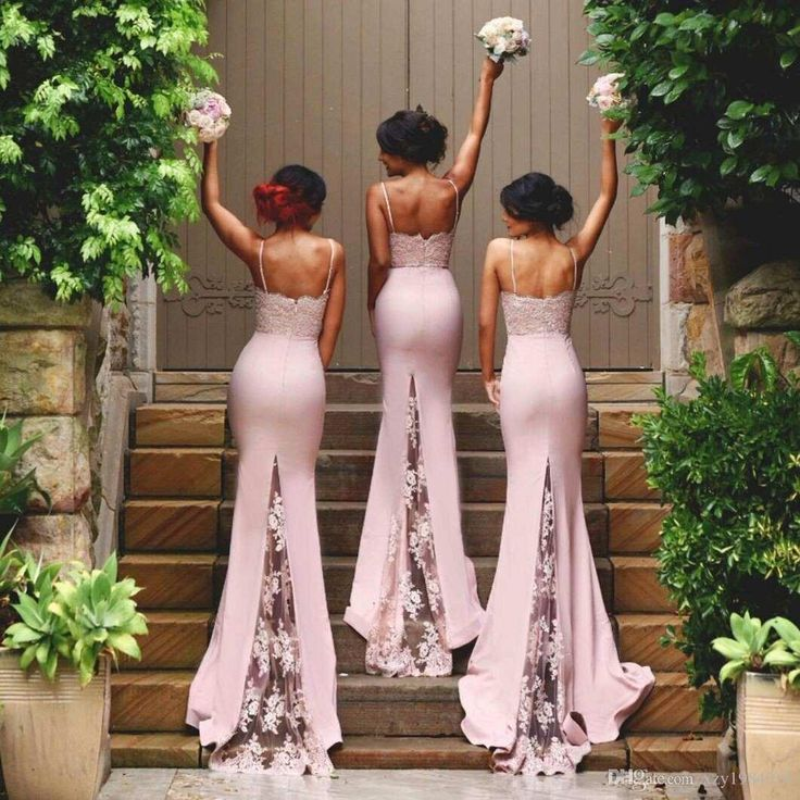 Spaghetti Straps Lace Satin Bridesmaid Dresses Skirt Train Lace Appliques Blush Pink Mermaid Cheap Prom Dresses Bodycon Evening Dresses