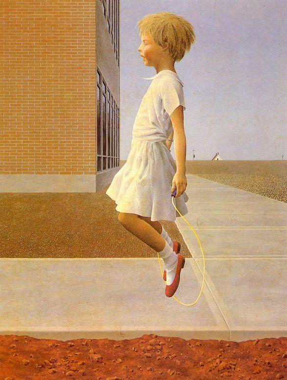Child skipping by Alex Colville
