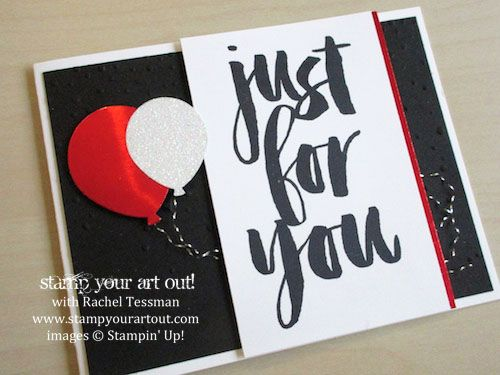 Just For You balloon card (for birthday, Valentine's Day, anything!) made with Balloon Bouquet punch, Softly Falling embossing folder, and Botanicals for You stamp set (free Sale-A-Bration item with a $50+ order… #stampyourartout #stampinup - Stampin' Up!® - Stamp Your Art Out! www.stampyourartout.com