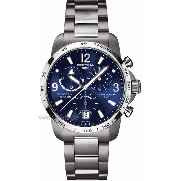 Mens Certina DS Podium GMT Titanium Chronograph Watch C0016394404700