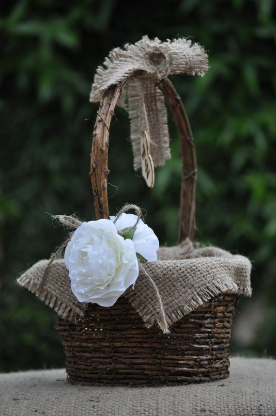 Personalized Flower Girl Basket Rustic by BeaconHillCandles, $30.00