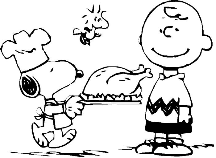Child Thanksgiving With Snoopy Coloring Page ...