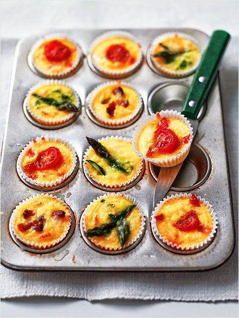 mini crustless quiches in a muffin pan