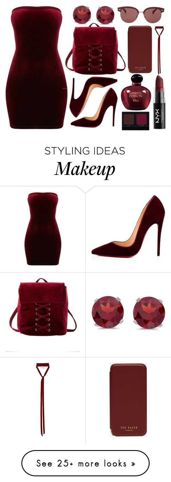 """Red velvet"" by lottie2004 on Polyvore featuring Shany, Christian Louboutin, Charlotte Russe, Ted Baker, Ann Demeulemeester, BillyTheTree, Oliver Peoples, Christian Dior, NYX and Huda Beauty"