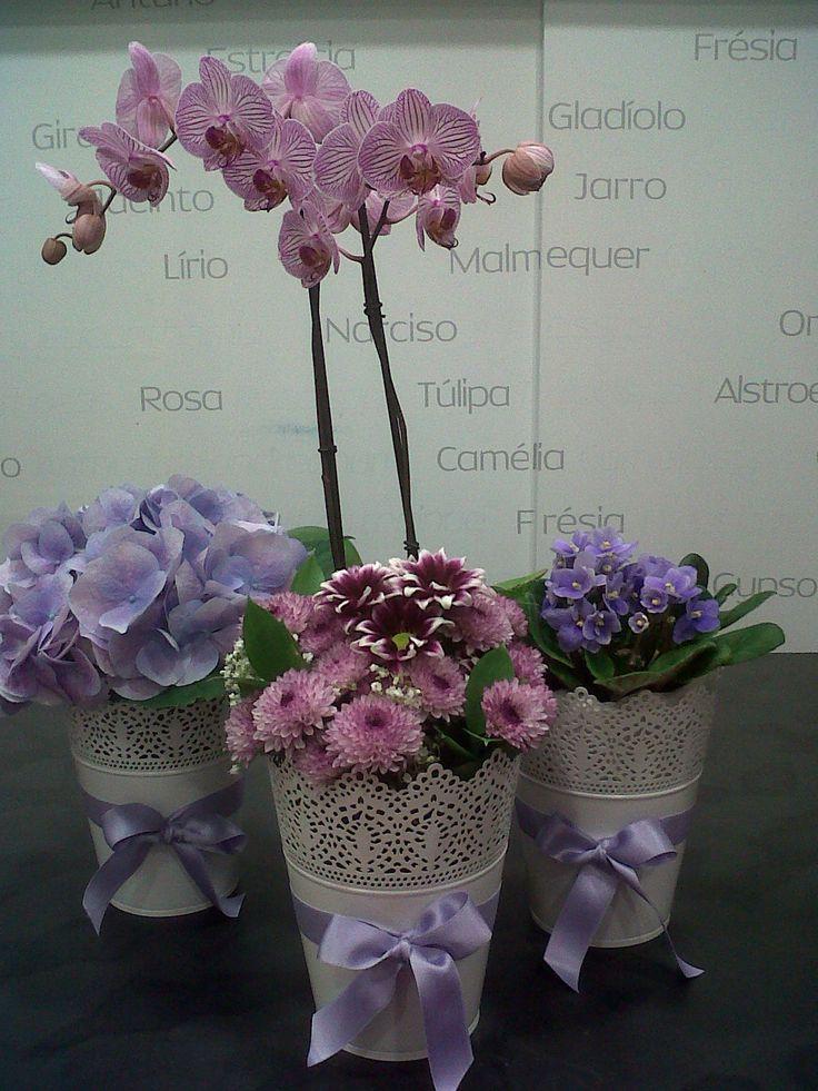 Arranjo para baptizado: centro de mesa com orquídea, hortenses, violeta e raminho de margaridas sortidas