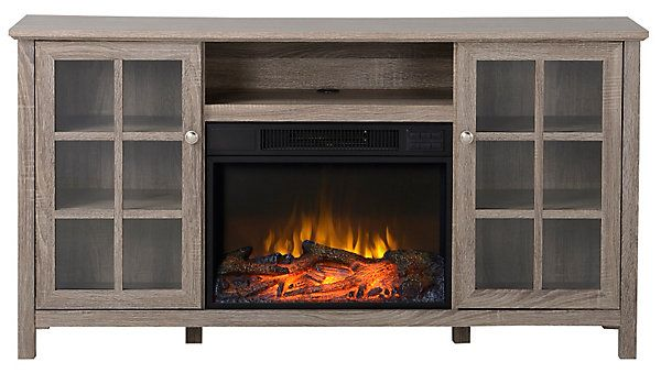 """The Provence Laminated Wood Media console for TVs up to 65"""" is the ideal media storage solution for any room. This attractive and useful media console, with integrated wire management, contains side cabinets and an open center shelf that provides ample room for your media components. The mantel comes with a 23 Flame lux Electric Fireplace insert, which can be used with or without heat for all season enjoyment."""