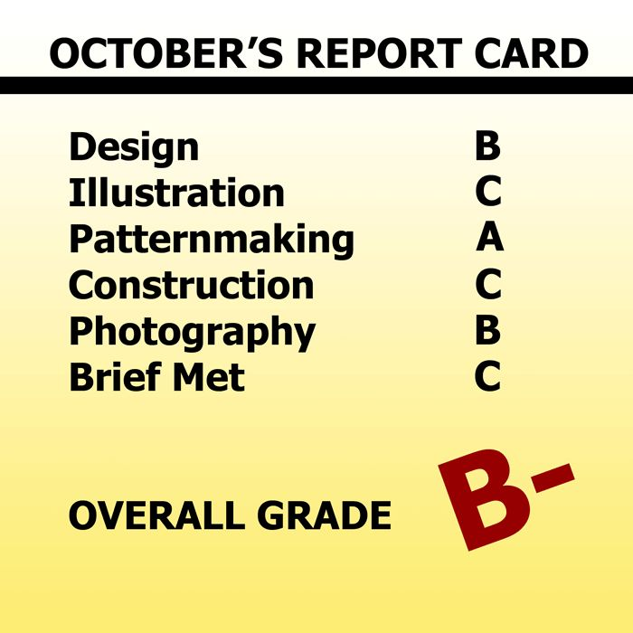 October's Design Report Card B- Overall www.duellingdesigns.com