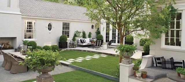 like mix of pavers, stone, concrete and grass