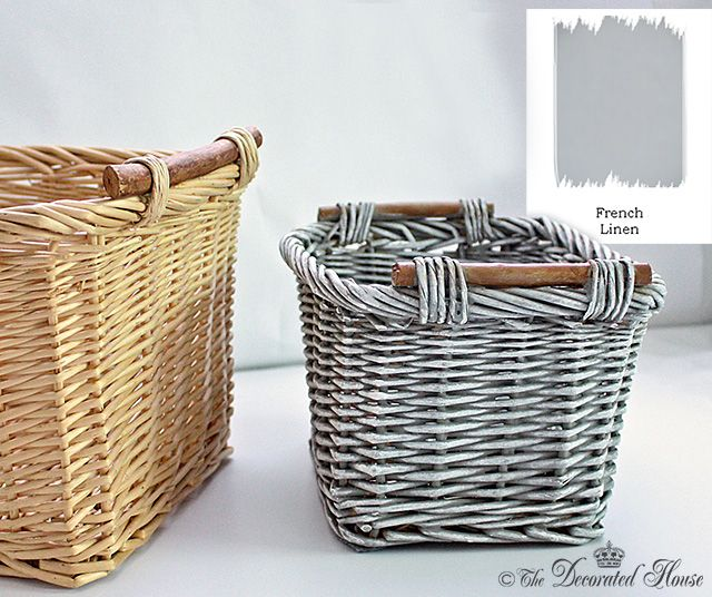 The Decorated House : Basket Makeover with French Linen Chalk Paint Tutorial