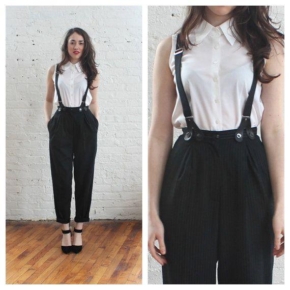90s suspender pants / pinstripe trousers