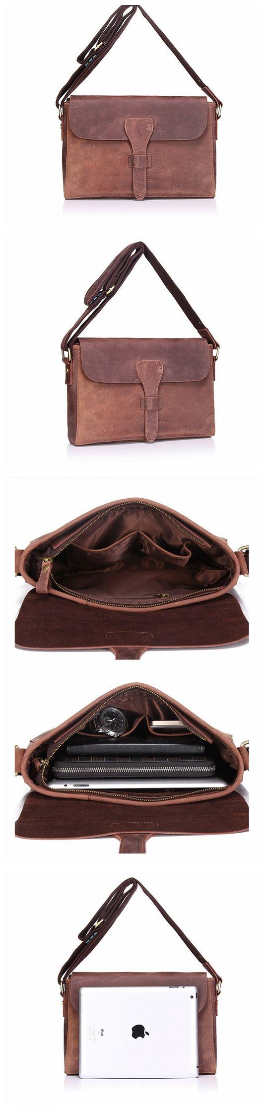 Vintage Style Top Grain Leather Men Messenger Shoulder Bag Crossbody Bag