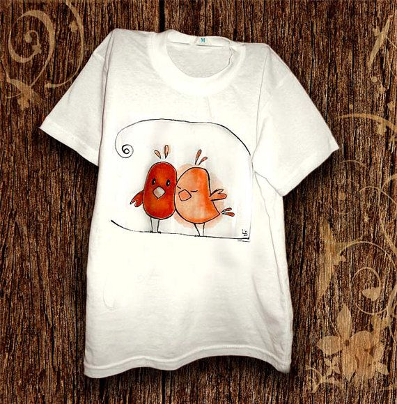 Hand painted T-shirt Birds in love. Paint by hand tee with