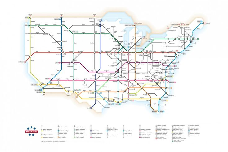 """""""U.S. Interstates as Subway Map"""" is a fun, intuitive way to explore American highways. Design copied from London tube map, reimagined for interactivity #dataviz"""