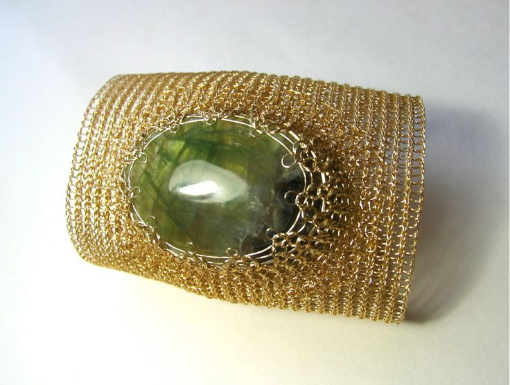 Extra wide cuff bracelet Handmade bracelet Fluorite cuff bracelet  Gemstone handmade cuff  Wire crochet gold bracelet by KvinTal on Etsy