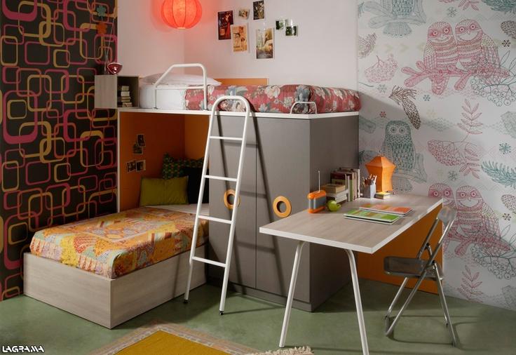 Cat logo aire avatar 14 dormitorio juvenil con una - Camas con escritorio ...