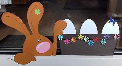 Fensterbild aus Tonkarton Frühling/Ostern 30 cm Osterhase stibitzt Eier