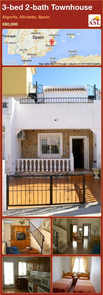 3-bed 2-bath Townhouse in Algorfa, Alicante, Spain ►€80,000 #PropertyForSaleInSpain