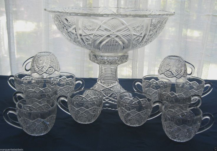Indiana Glass Paneled Daisy & Finecut Punch Bowl Cups Base Stand 14 piece Set | eBay