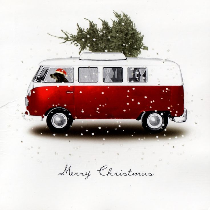 .Vintage VW van Christmas card — This was how we brought home our tree when I was a child (minus the driving dog).