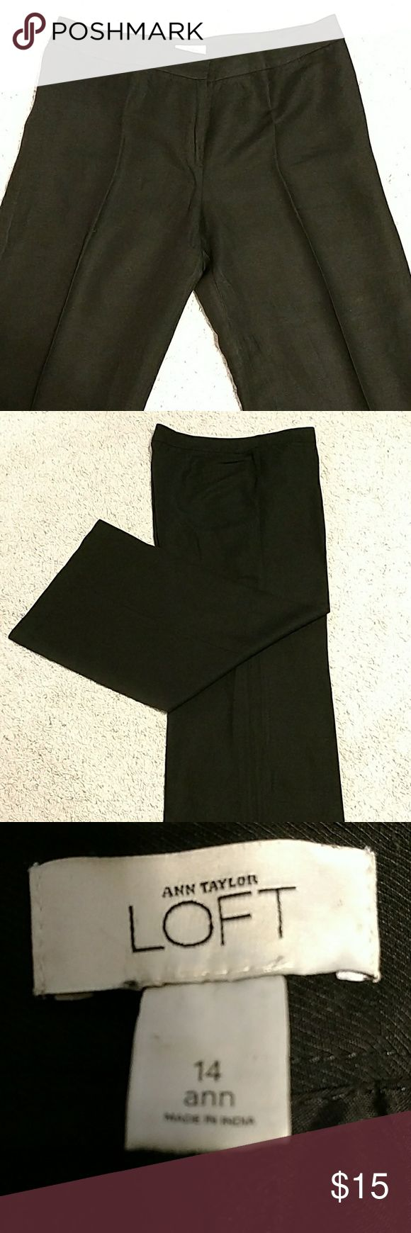 "Ann Taylor Loft Linen Pants These wide leg, black linen pants in Ann Taylor's ""Ann"" fit are perfect for summer.  The waist measures 18"" across.  Leg opening is 13"".  Inseam measures 30"".  Plain front, no belt loops or pockets.  Pants are unlined.  Great condition. Ann Taylor Loft Pants Wide Leg"