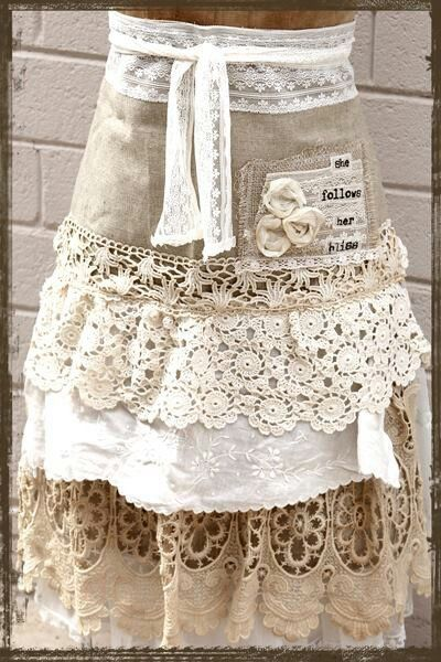 Linen apron with crocheted ruffles