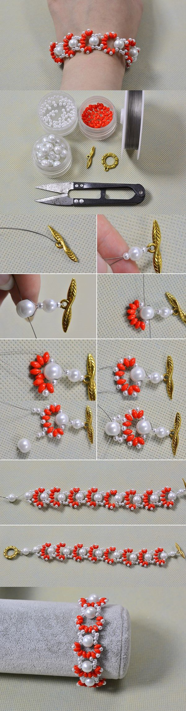 DIY Homemade Two Hole Seed Bead Woven Bracelet