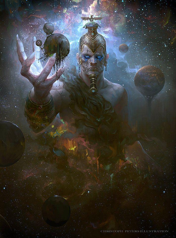 """Ptah: era un dios creador. """"Maestro constructor"""", inventor de la albañilería, patrón de los arquitectos y artesanos. Se le atribuía también poder sanador. El dios tenía forma de hombrecillo con barba recta (los demás dioses egipcios la llevan curva), envuelto en un sudario, con un casquete en la cabeza, el collar menat, el cetro uas con el pilar Dyed y el Anj; también estaba sobre un pedestal, símbolo de Maat."""