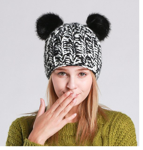 2016 New Winter Beanies Pompom with Lovely Cat Ears Beanie Hats for Women Z-3074