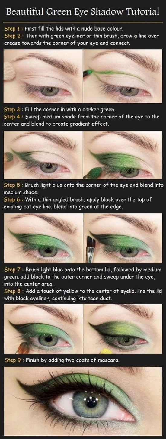 Big Eye Look with Big Eye Contact Lenses| Make up tutorial ideas.  Could use whatever color you choose (for those who don't like green eye makeup)