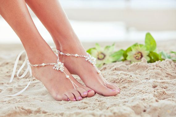 Barefoot sandles, beach wedding shoes, beaded wedding sandals, bridal foot jewelry,  soleless sandles. JESSICA Cream Large on Etsy, $87.22