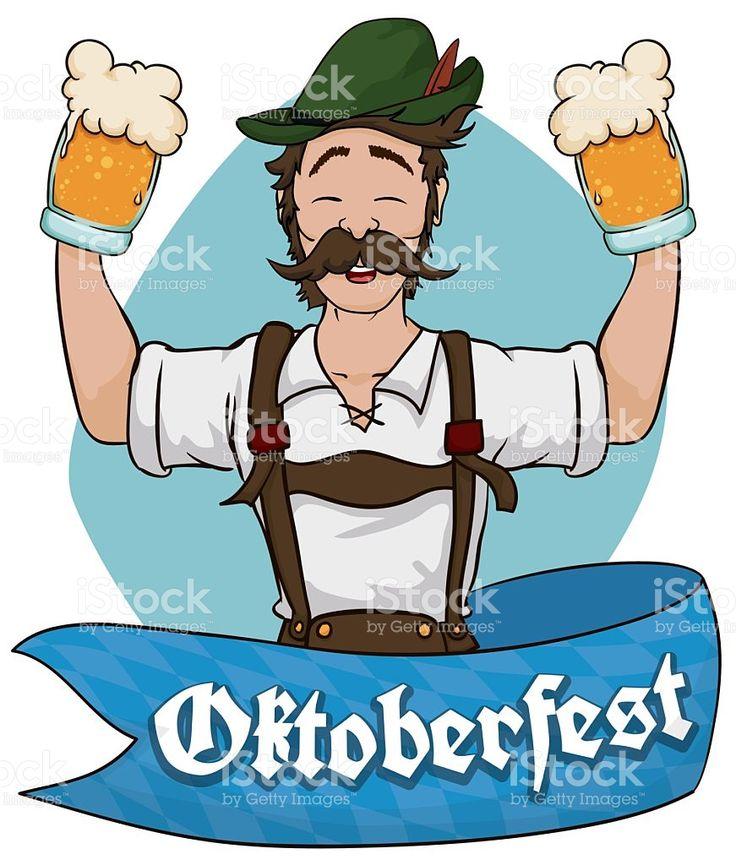 Happy Bavarian Man Celebrating Oktoberfest with Beer