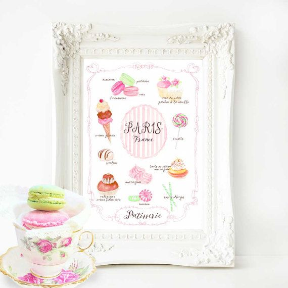 Paris kitchen bakery print French decor a by MulberryslittleMuse