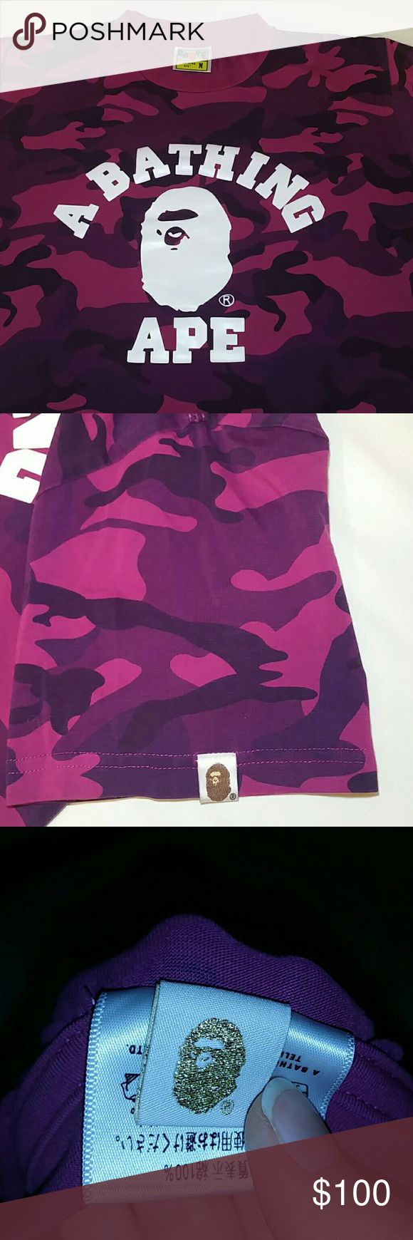 Bape Purple Camo T-shirt Authentic Bathing Ape, this shirt was purchased for me in Japan. The size is a men's medium, fits more like a small, I wear a women's medium and this fits perfectly. This shirt is very well worn, which reflects in the price. There is a slight scratch on the ape face, as shown in the last picture. Any other imperfections are due to the use over the last few years, still an amazing piece nontheless. Price is firm. Bape Shirts