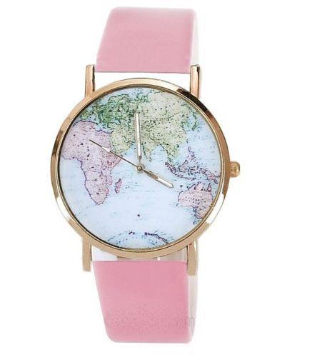 Reloj-Mapa-Mundo-VINTAGE-retro-geneva-MUJER-oro-ROSA-DORADO-flores-love-BLOGGER