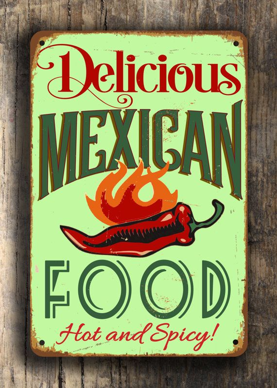 MEXICAN FOOD Sign Vintage style Aluminum by ClassicMetalSigns
