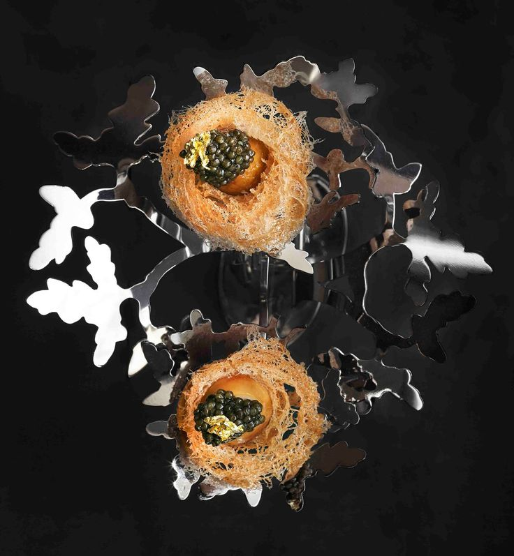 Quail eggs in a crispy nest by chef Alvin Leung of Bo Innovation