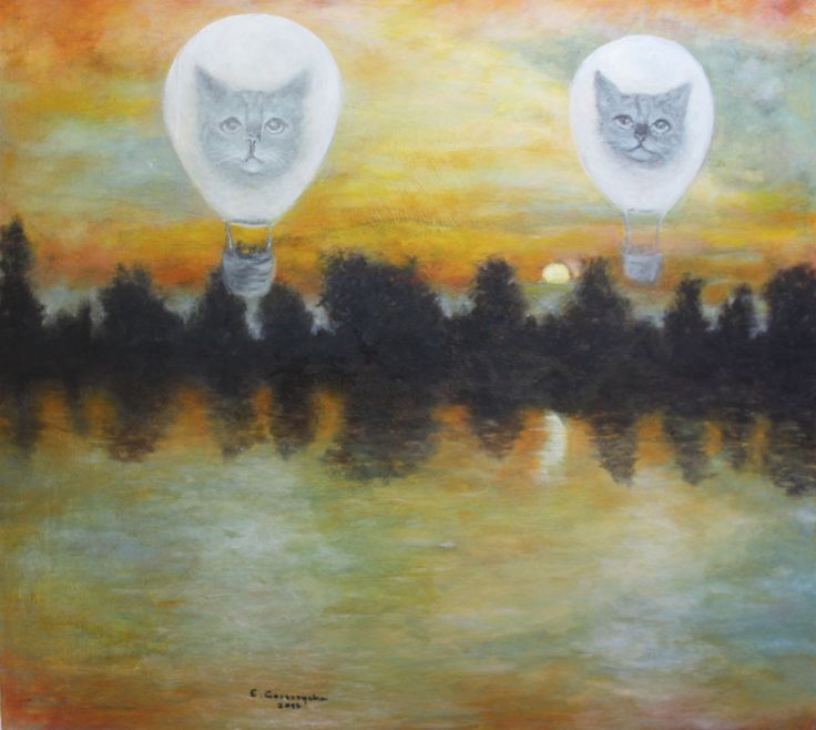 Obraz olejny malowany na dużej, gruntowanej płycie.  Temat: zachód słońca ujęty dość subiektywnie, przyprawiony fantazyjnie dwoma balonami z wizerunkami kotów.  Wymiary: szerokość 71 cm x wysokość 66 cm.  Przed wysyłką mam zamiar zabezpieczyć go werniksem o satynowym połysku (marki Renesans, jest delikatniejszy w połysku od innych).
