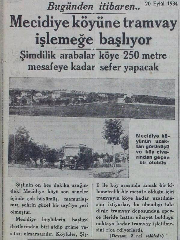 Mecidiyeköy'de tramvay. 1934. Istanbul.