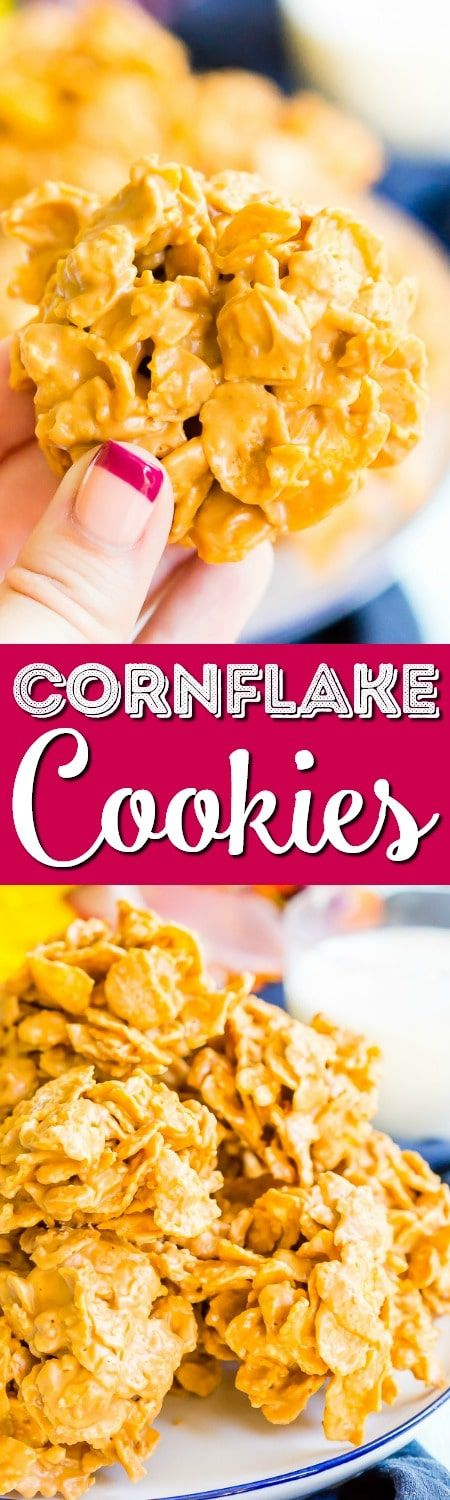 These Butterscotch Cornflake Cookies are made with just three ingredients: peanut butter, butterscotch, and frosted flakes. They're no-bake too which makes them the perfect easy dessert!