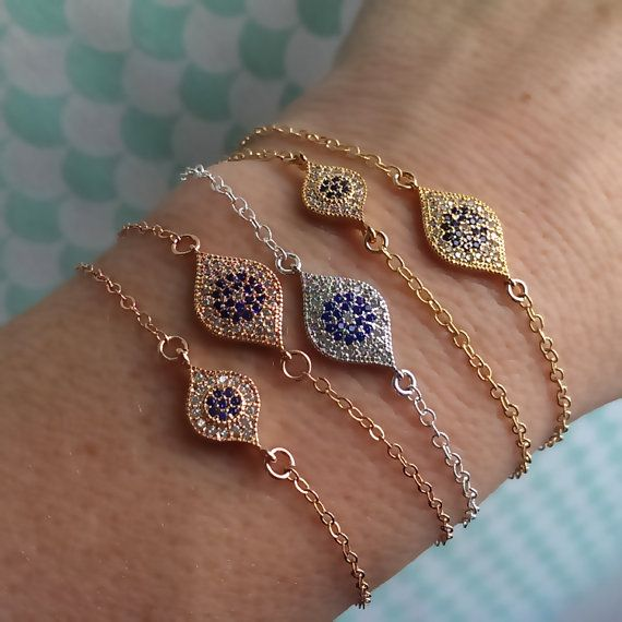 Evil Eye Bracelet Pavé CZs Good luck Bracelet by ShopSomethingBlue. SMALL GOLD
