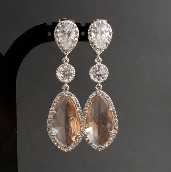 Wedding Jewelry Champagne Earrings Bridal Earrings Wedding Earrings Silver Cubic Zirconia Posts with Light Peach Glass drops via Etsy