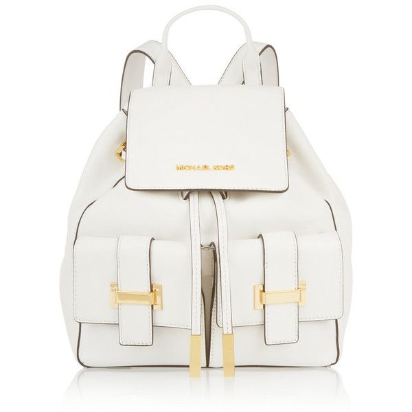 Marly leather backpack Michael Michael Kors found on Polyvore featuring bags, backpacks, backpack, mochilas, top handle bag, genuine leather backpack, white leather bag, white backpack and rucksack bag