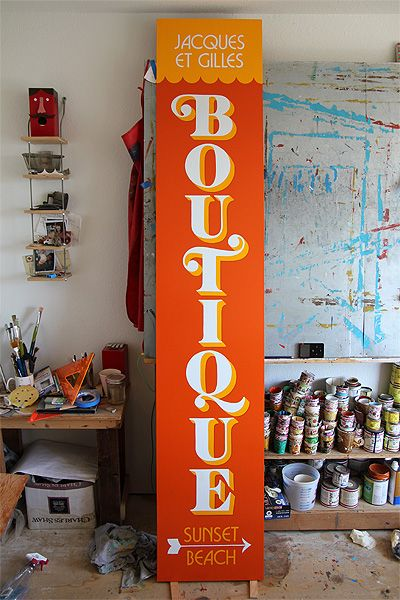 These shades of yellow and orange together with a cream are so striking and tropical. Hand Painted Signs by Jeff Canham