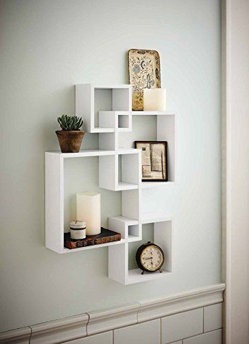 Generic Intersecting Squares Wall Shelf - Decorative Display Overlapping Floating Shelf - Home Decor Wall Art - Interlocking Shelves/Wall Cubes/Storage Cubes/Ledge Storage/Wall-Mounted Hutch, Set of 4, 2 Candles Included - White