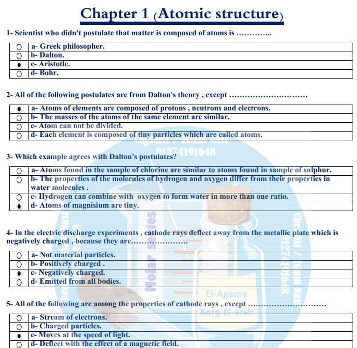 مراجعة Chemistry للصف الثاني الثانوي الترم الأول 2020 الإجابات Greek Philosophers Atomic Structure Protons